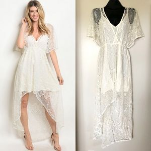 Ivory Lace High Low Dress Small S Bridal Wedding